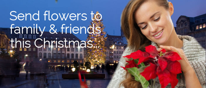 Send Christmas Flowers to UK from USA delivered by a local florist